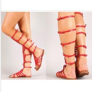 Strappy Gladiator Flat Sandal sz 11 RED
